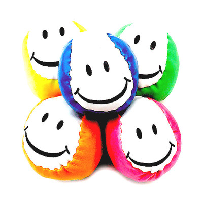 Kick Bag Balls Neon Smileface Assorted Pk/24